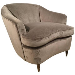 Italian Art Deco Velvet Armchair, 1930