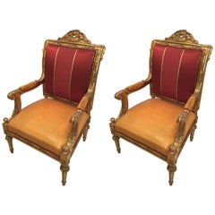 Pair of Italian Baroque Gilded Wood, Reupholstered