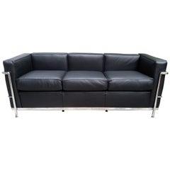 LC2 Le Corbusier Three-Seat Sofa in Black Leather Grained