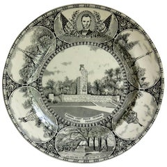 Gettysburg Memorial Plate by William Adams for Jonroth, Eathenware, circa 1925