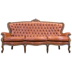 Chesterfield Leather Sofa Light Brown Three-Seat Couch Vintage Retro Wood