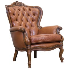 Chesterfield Leather Chair Light Brown One-Seat Vintage Retro Wood