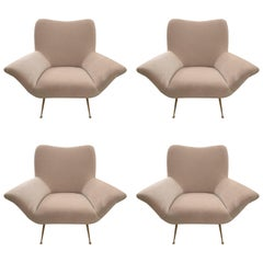 Set of Four Italian Armchairs Reupholstered in Velvet Style of Gio Ponti
