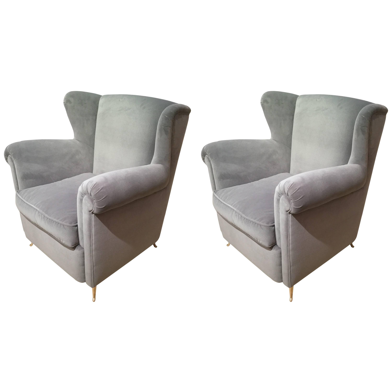 Italian Armchair Reupholstered in Velvet Style of Gio Ponti