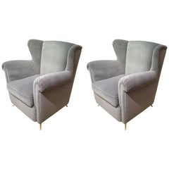 Pair of Italian Armchairs Reupholstered in Velvet Style of Gio Ponti