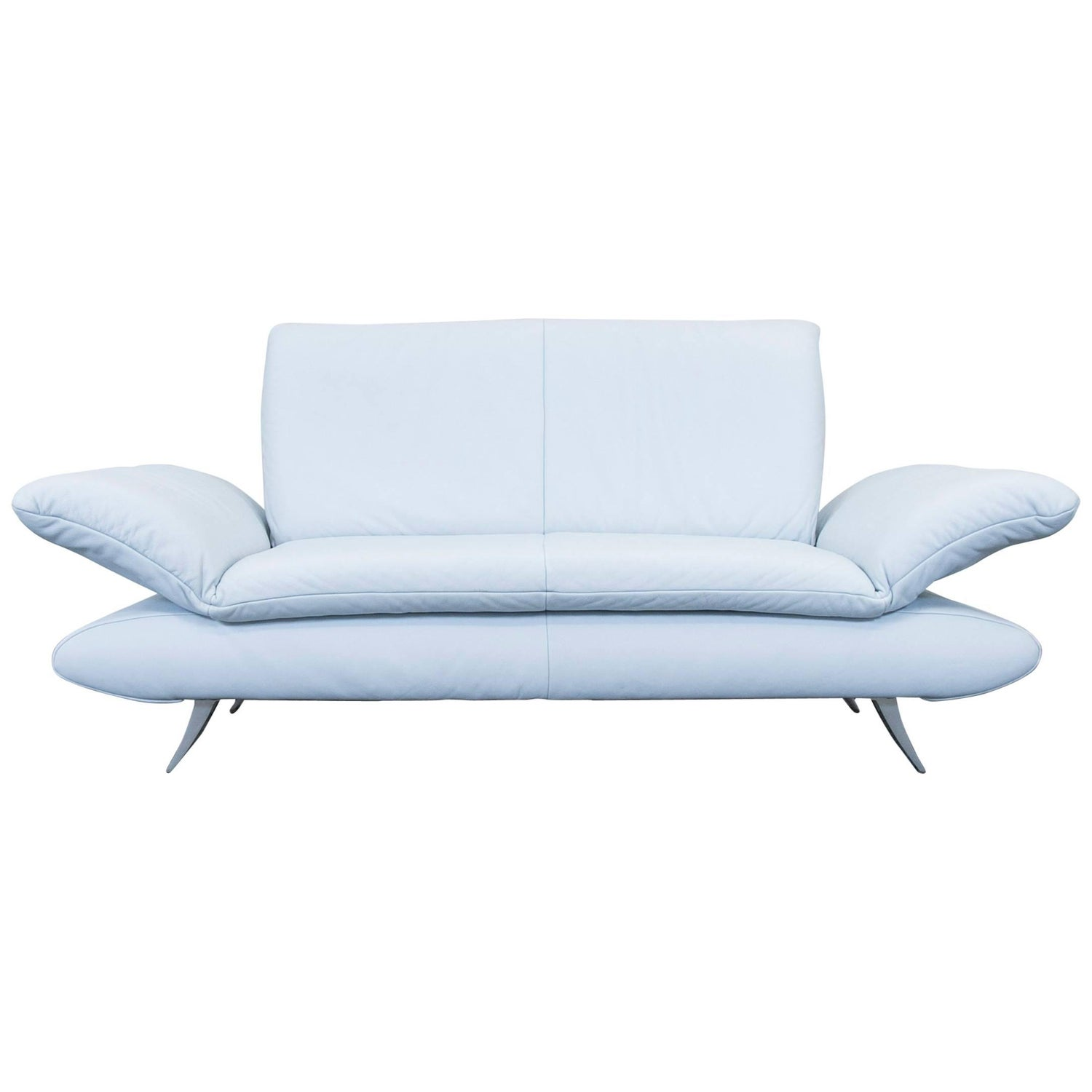 Koinor Rossini Designer Leather Sofa Ice Blue Two Seat Couch