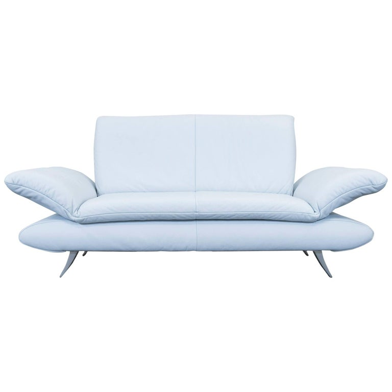 koinor rossini designer leather sofa ice blue two seat couch function modern at 1stdibs. Black Bedroom Furniture Sets. Home Design Ideas