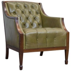 Chesterfield Leather Armchair Green One-Seat Chair Vintage Retro