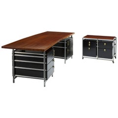Important Jules Wabbes Boomerang Desk and Cabinet