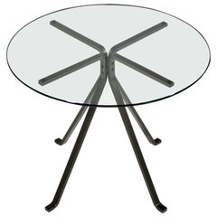 """""""Cuginetto"""" Tempered Glass and Steel Coffee Table by Enzo Mari for Driade"""