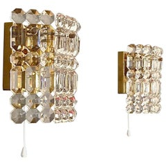Pair of Modernist Kinkeldey Palais Patinated Brass Faceted Crystal Glass Sconces