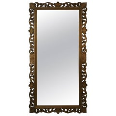 Italian Baroque Full Length Carved and Gilded Wood Mirror, circa 1920