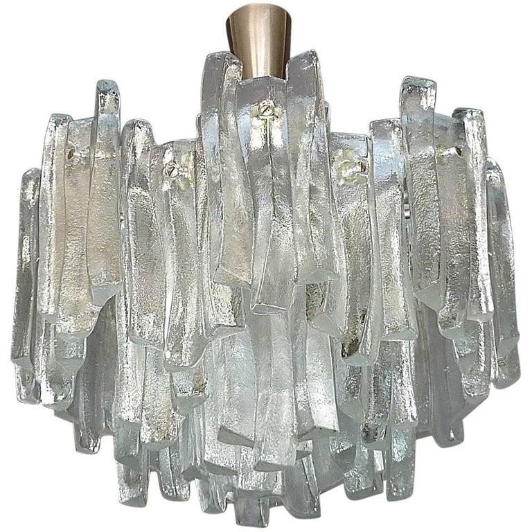 Kalmar Flush Mount Chandelier Wavy Frosted Ice Glass Nickeled Sputnik, 1960s For Sale