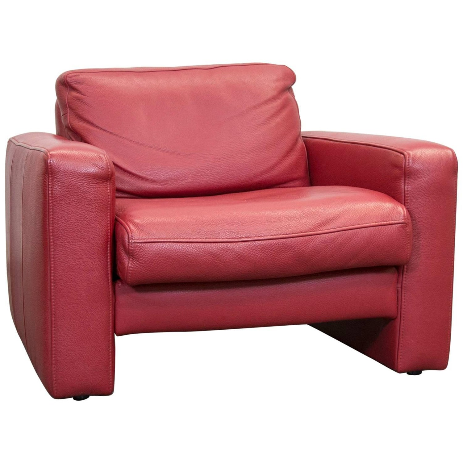 Designer Leather Armchair Red e Seat Chair Modern For Sale at