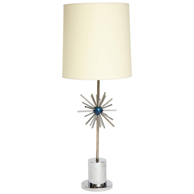 Chrome Desk Lamp with Lacquered Blue Sputnik Design, French, 1970s, Mid-Century