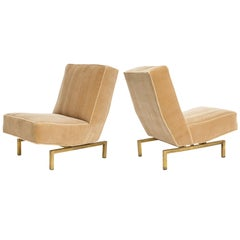 Louis Paolozzi Gold Mid-Century Lounge Chairs on Brass Bases, France, 1950s