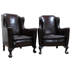 Pair of Early 20th Century English Library Wing Armchairs