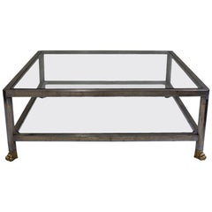 French 1950s Steel Empire-Style Coffee Table
