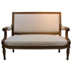 19th Century Louis XVI Style Giltwood Sofa