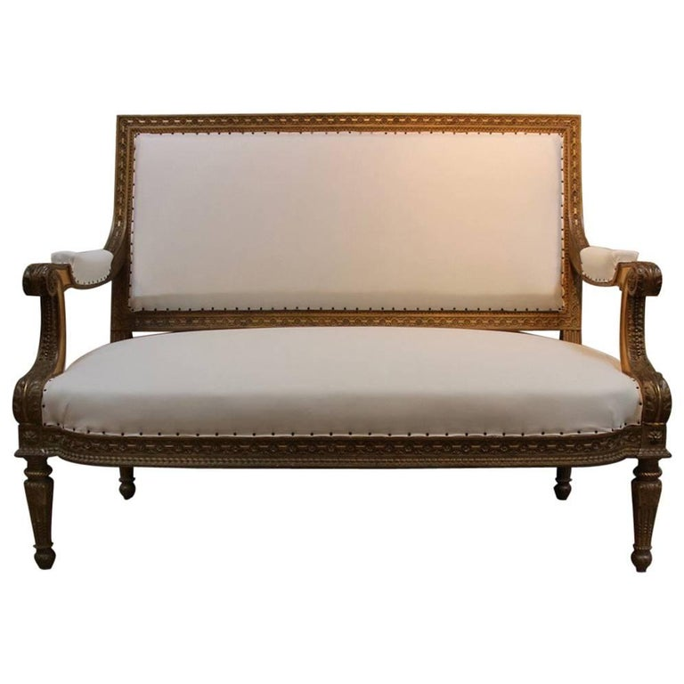 19th Century Louis XVI Style Giltwood Sofa