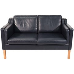 Borge Mogensen Style Loveseat Sofa in Dark Sapphire Leather by Stouby