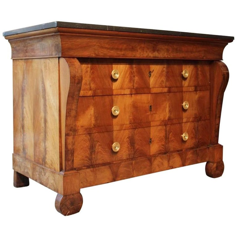 Large 19th Century French Restauration Walnut Commode