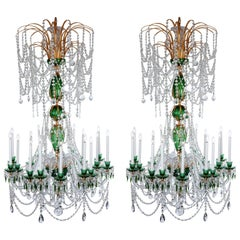 Magnificent Pair of Russian Green Crystal and Gold Chandeliers