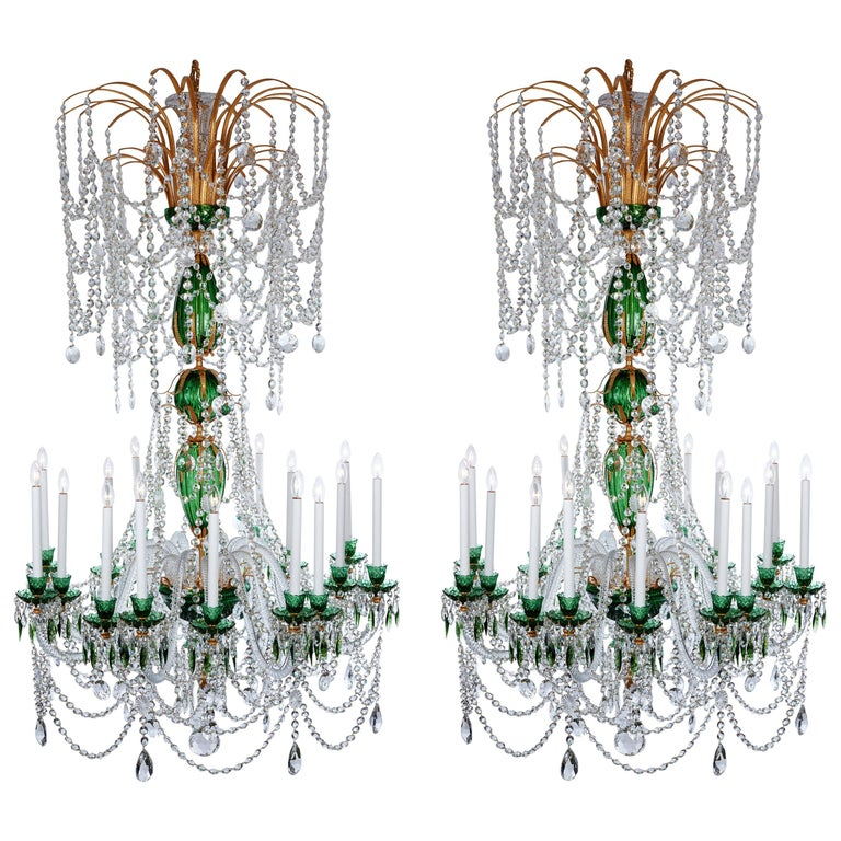 Magnificent Pair of Russian Green Crystal and Gold Chandeliers For Sale