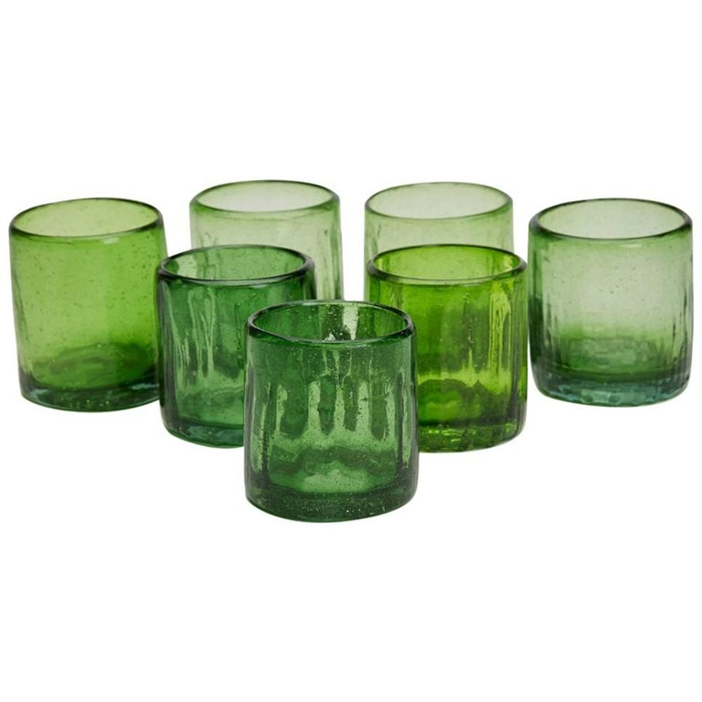 Set of Seven Vintage or Antique Rustic Green Glass Tumblers
