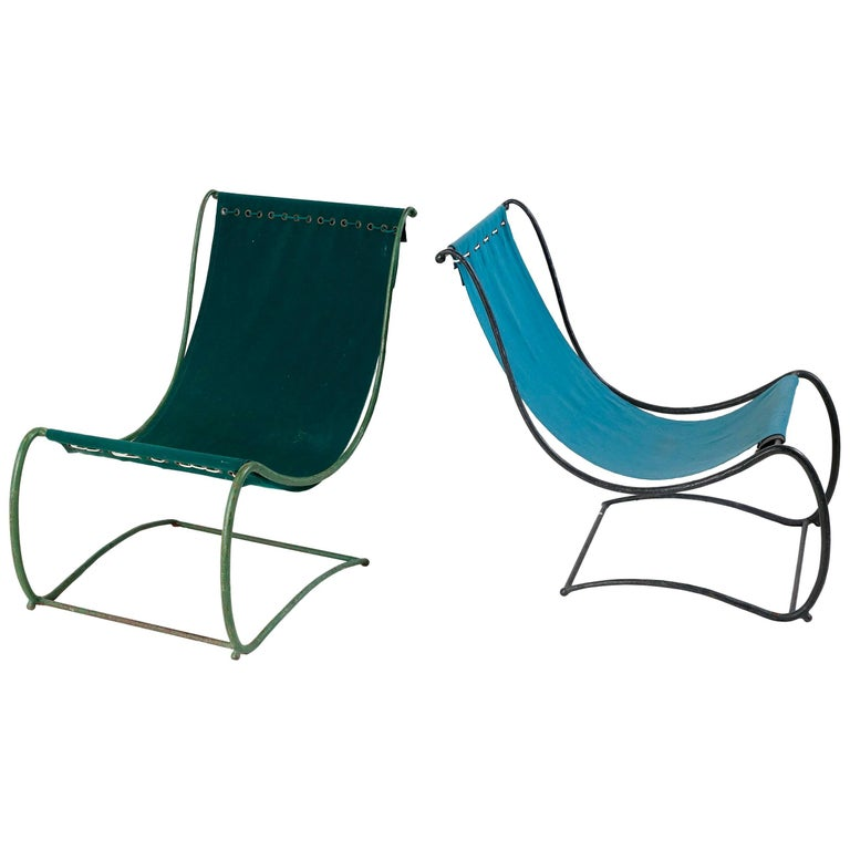 Jean Charles Moreux Pair Of Garden Lounge Chairs France C 1935