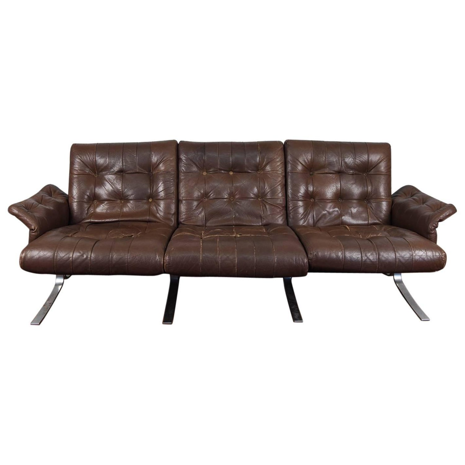 Danish Modern Tufted Leather and Metal Frame Sofa by Ebbe Gehl at