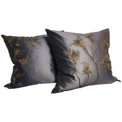 Pair of Silk Cushions Hand Embroidered in Chinoiserie Style Dusk Blue