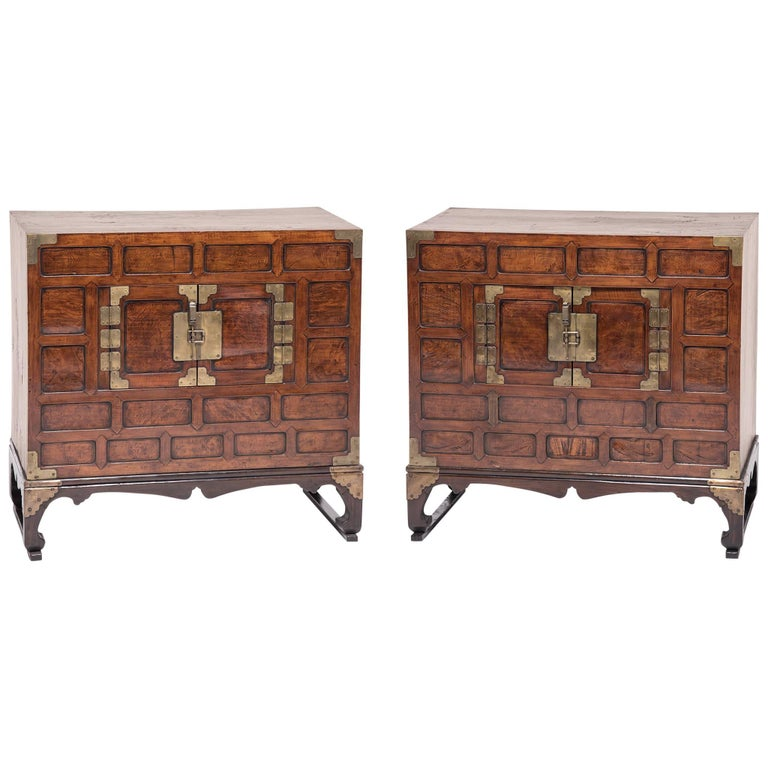 Pair of Korean Two-Door Chests with Stands