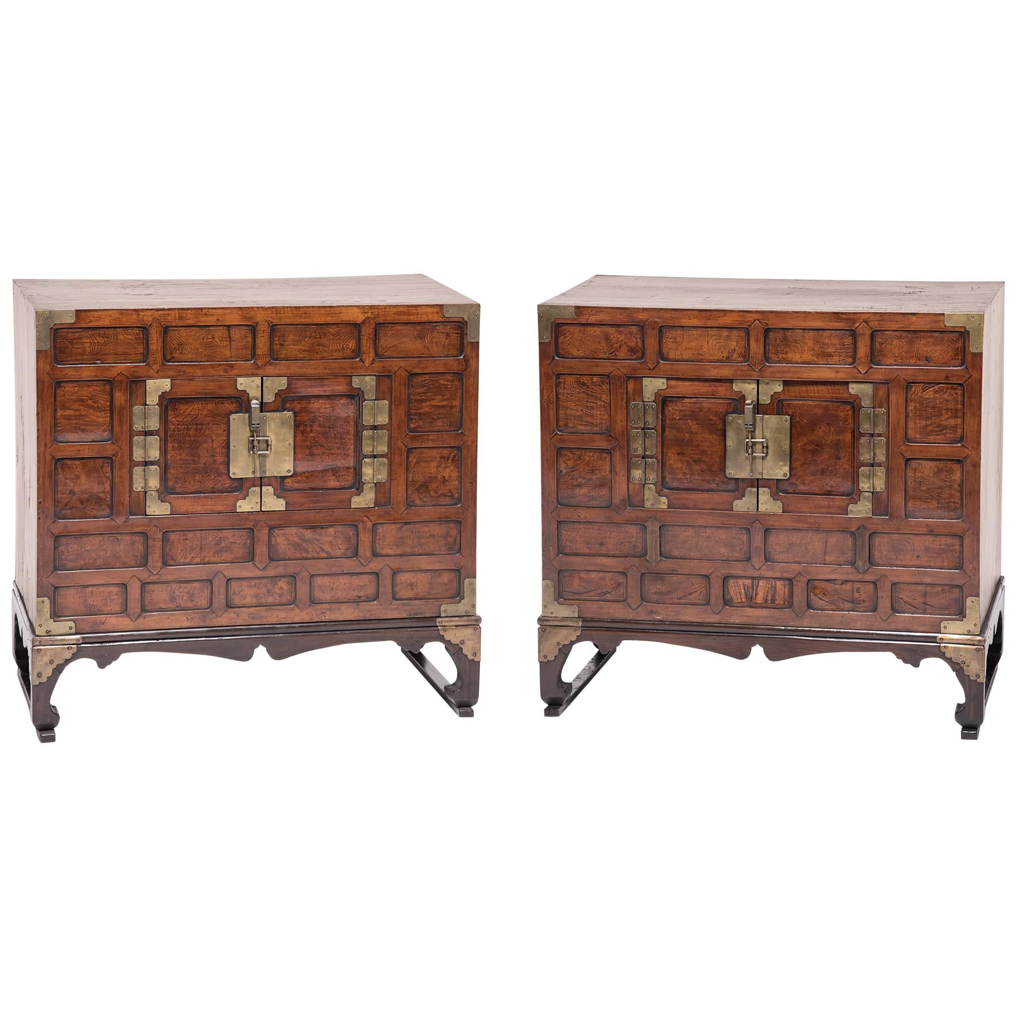 Pair Of Korean Two Door Chests With Stands