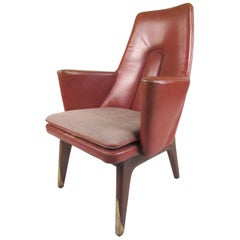 Vintage Modern Leather Back Lounge Chair