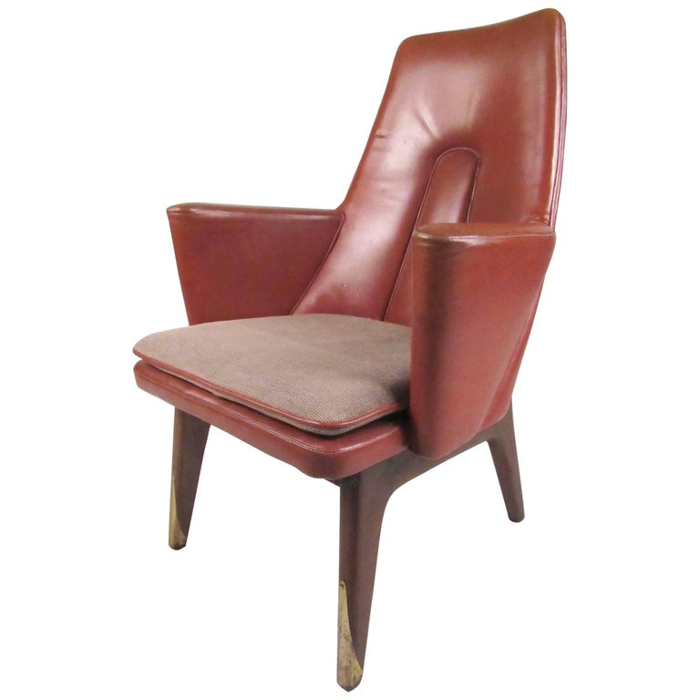 Stylish Vintage Modern Leather Back Lounge Chair