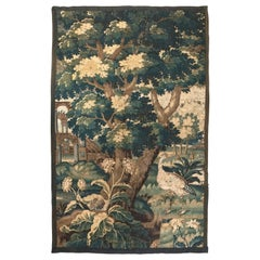 18th Century French Wall Verdure Aubusson Tapestry with Bird and Ruins