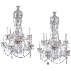 Large Pair of Fine Parker & Perry English Clear Crystal Glass Chandeliers