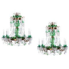 Pair of Magnificent Cut Crystal Glass Russian Style Chandeliers