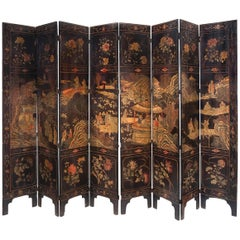 Chinese Coramandel Lacquer Qing Dynasty Eight-Panel Screen, 19th Century