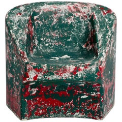 Green and Red Painted Cement Chair, Willy Guhl