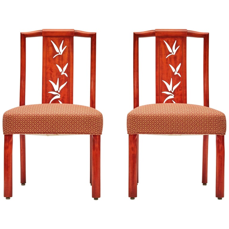 James Mont, Pair of Lacquer Dining Chairs, United States, circa 1950 1