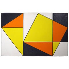 Abstract Oil Painting by Johanna Bal in the Style of Piet Mondrian