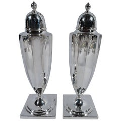 Antique Tiffany Classical Sterling Silver Salt and Pepper Shakers