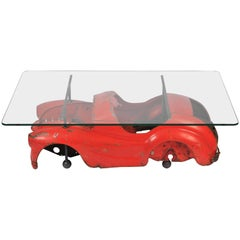 20th Century Industrial Coffee Table with Toy Car Design