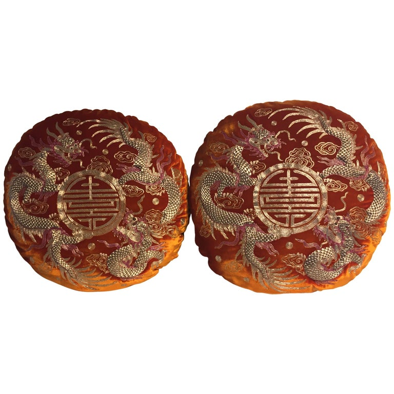 Pair of Dragon Cushions Chinoiserie Style Velvet Color Brick Round Shaped For Sale