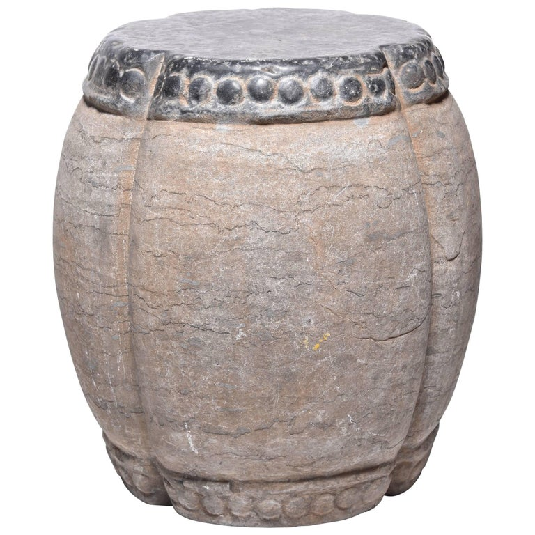 Chinese Clover Form Stone Drum