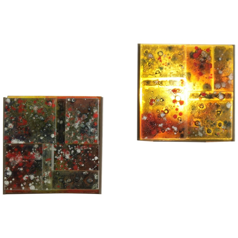 Wall Sconces With Colored Glass : RAAK Thick Colored Glass Wall Lamps For Sale at 1stdibs