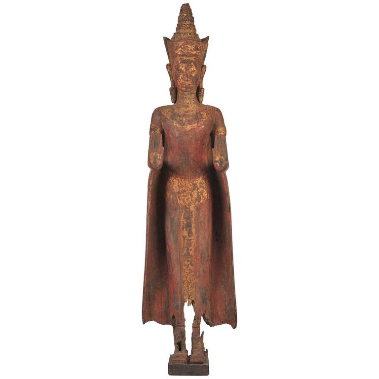 Early 18th Century Carved Hardwood Oriental Buddha