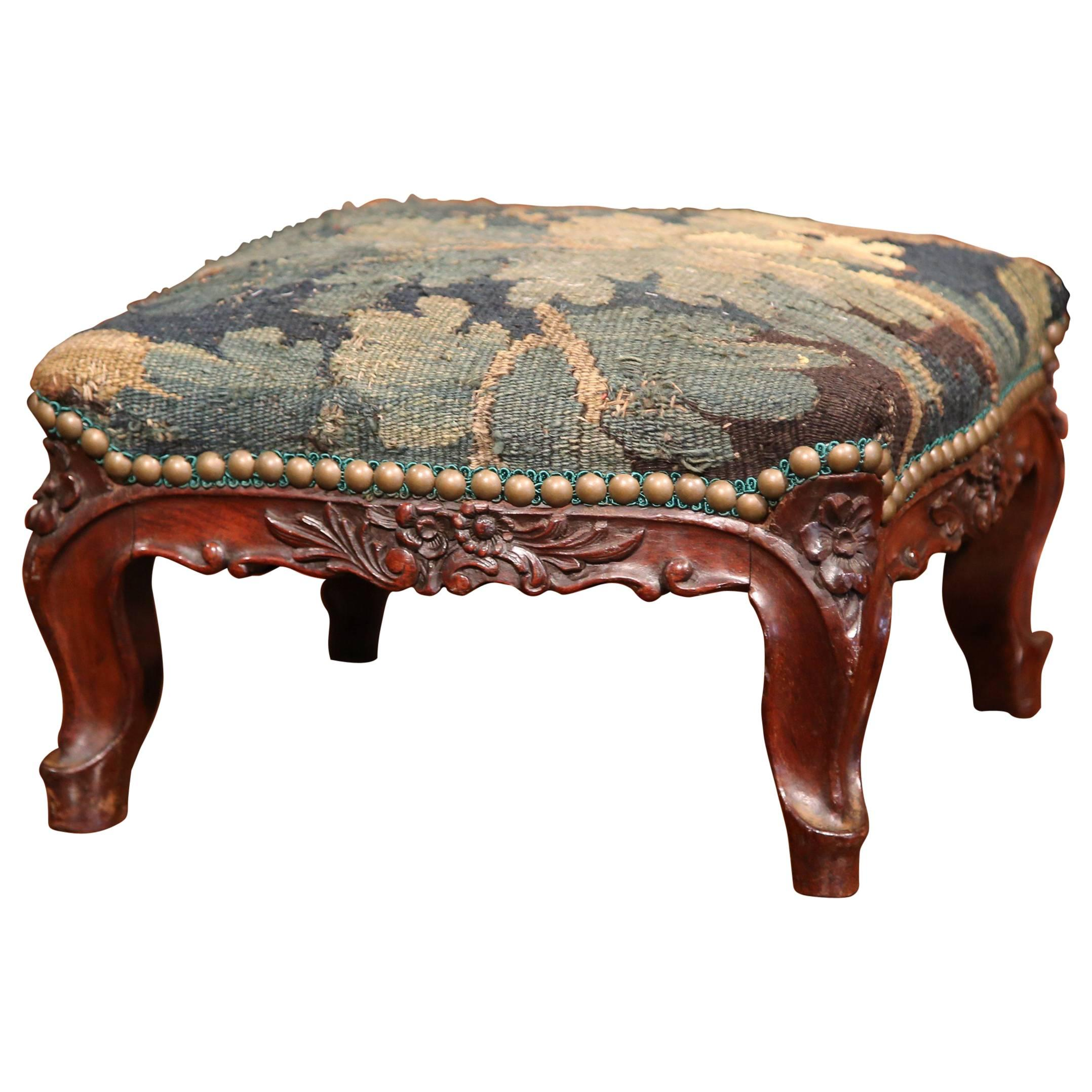 19th Century French Louis XV Carved Walnut Footstool With Aubusson Tapestry